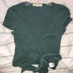Washed Green Deep V Crop Top with Tie
